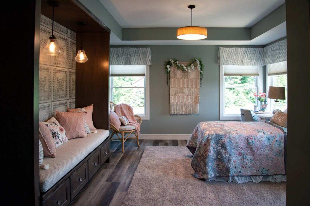 farmhouse girls bedroom with coretec plus xl james river oak vinyl flooring