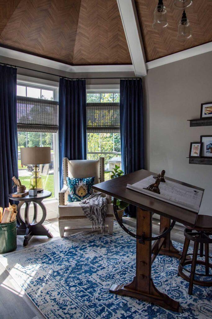 american farmhouse study with coretec plus xl james river oak vinyl flooring
