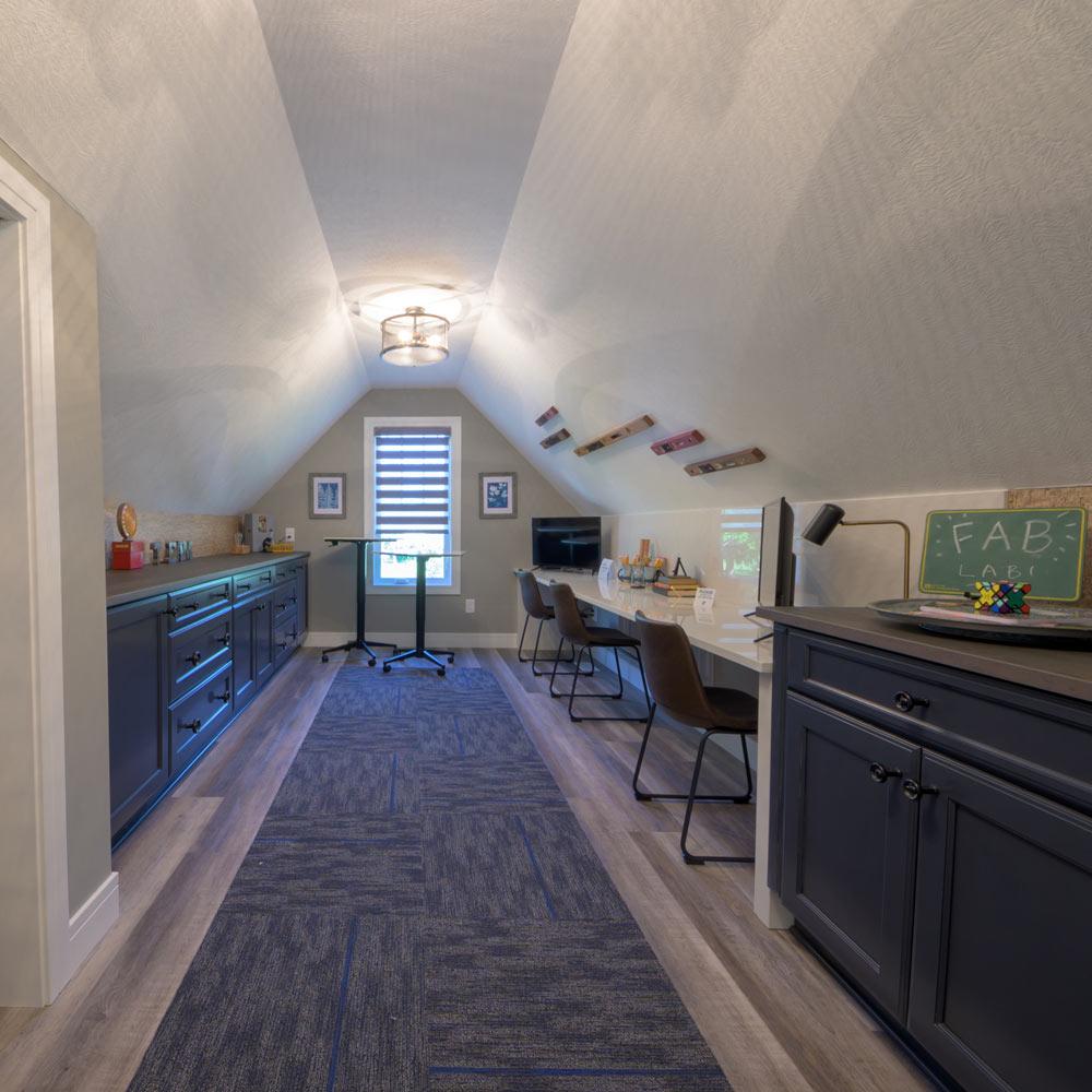 playroom with coretec plus xl james river oak vinyl flooring