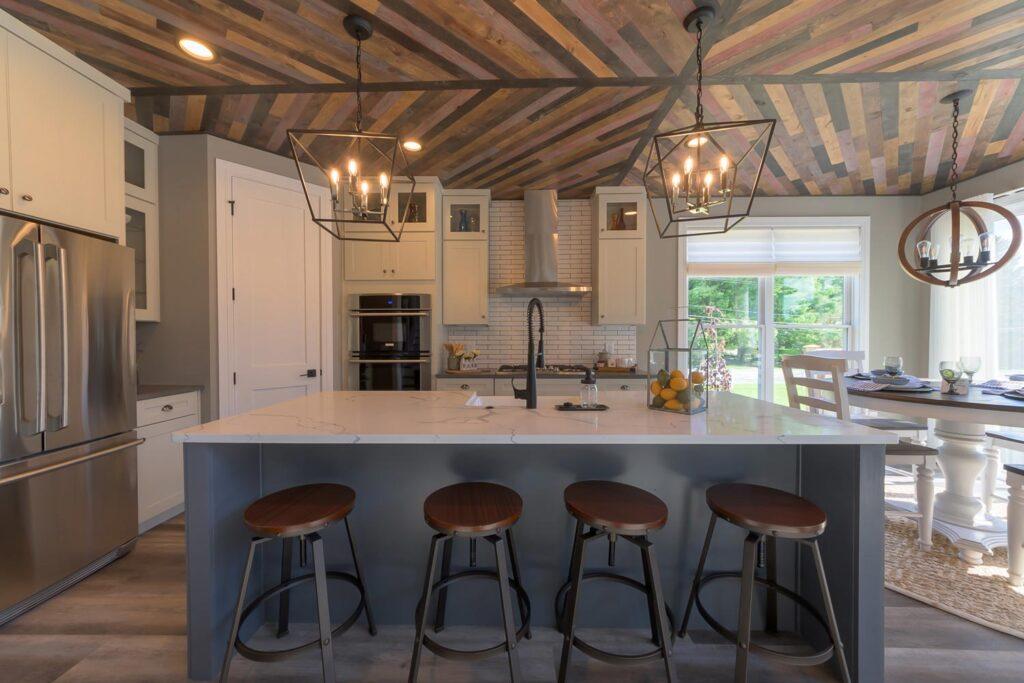 white farmhouse kitchen with coretec plus xl james river oak vinyl flooring