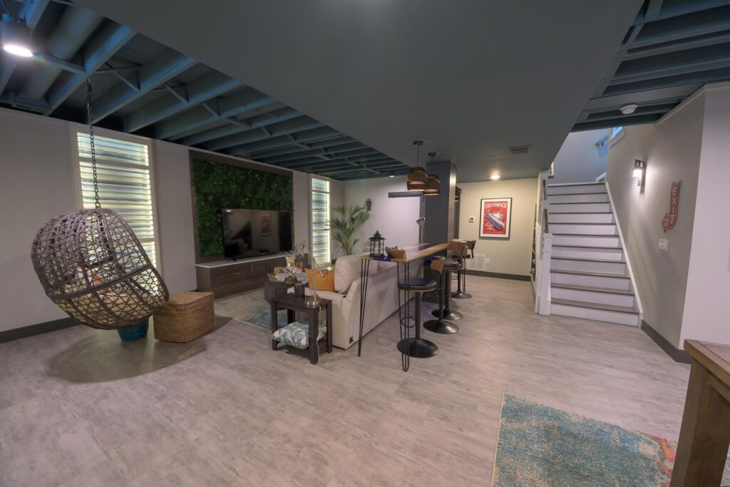 finished basement with coretec pro plus enchanced wexford vinyl flooring