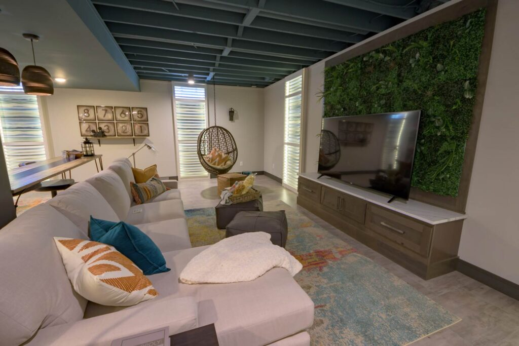 farmhouse basement with coretec pro plus enhanced wexford vinyl flooring