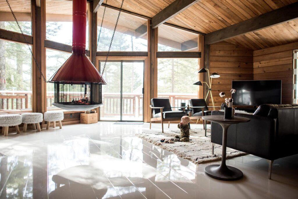 modern cabin with white high gloss laminate flooring