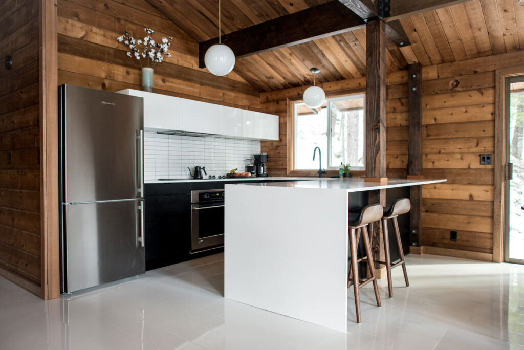 mountain cabin with white high gloss laminate flooring