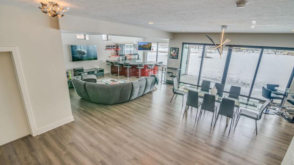 Modern Custom Home with Greige Laminate Flooring