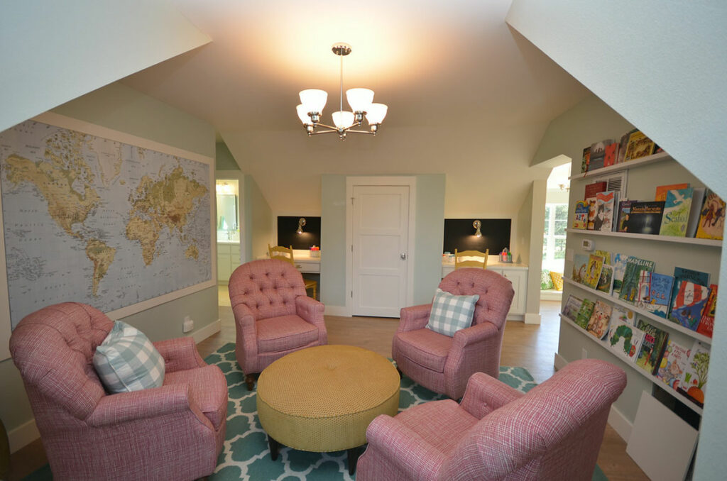 farmhouse great room with malted tawny oak laminate