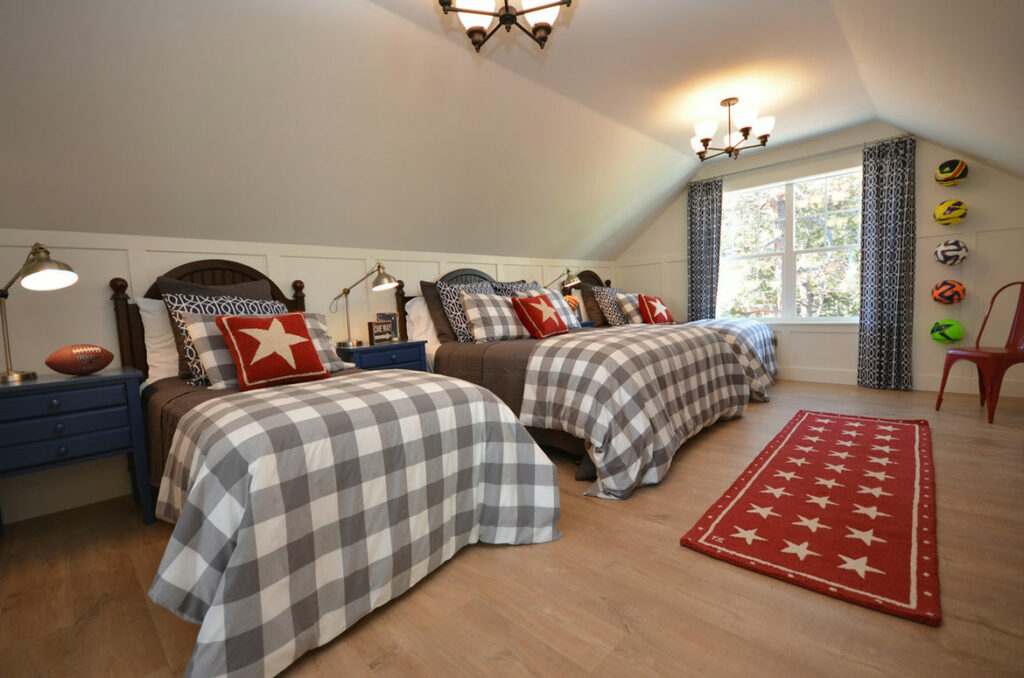 farmhouse bedroom with quick step malted tawny oak laminate