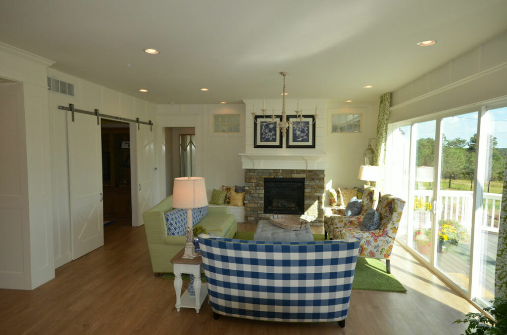 farmhouse living room with quick step malted tawny oak laminate